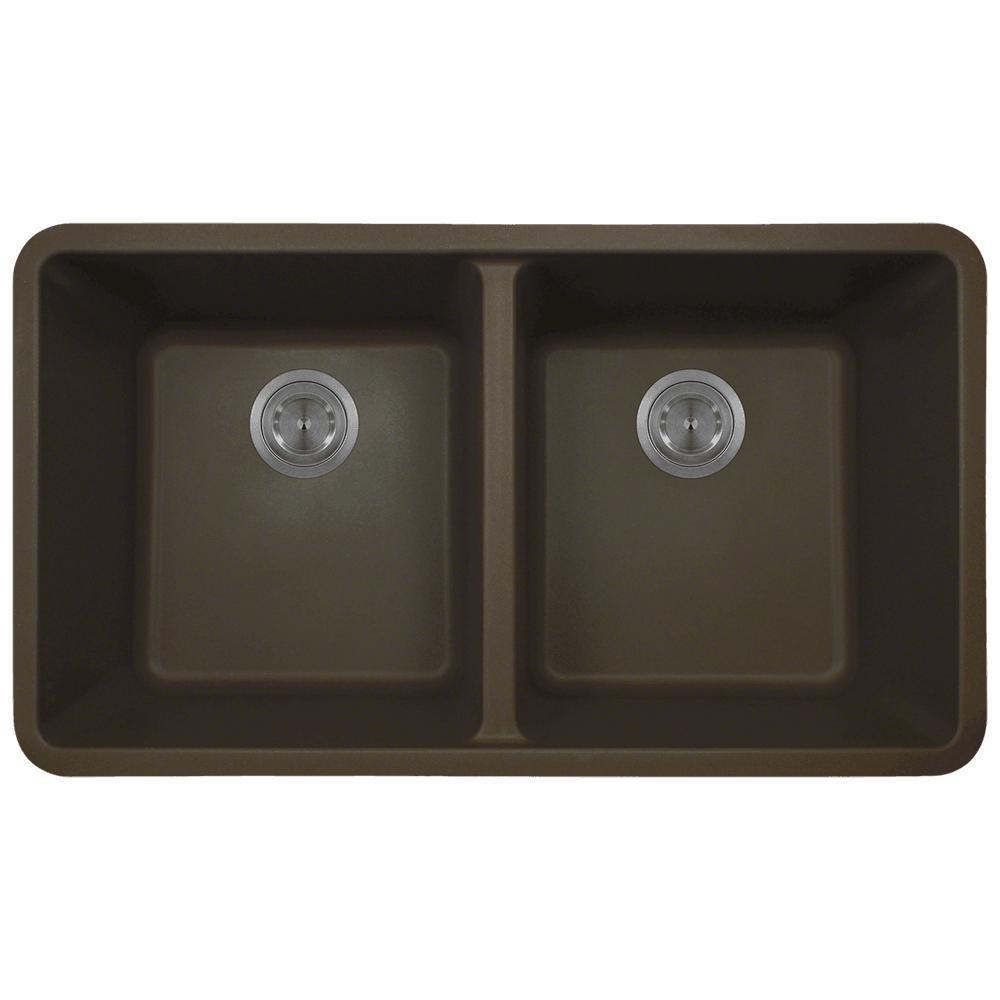 Undermount Quartz 32.5 in. 0-Hole Double Bowl Kitchen Sin...