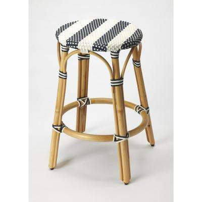 Tobias 24 in. Blue and White Rattan Counter Stool