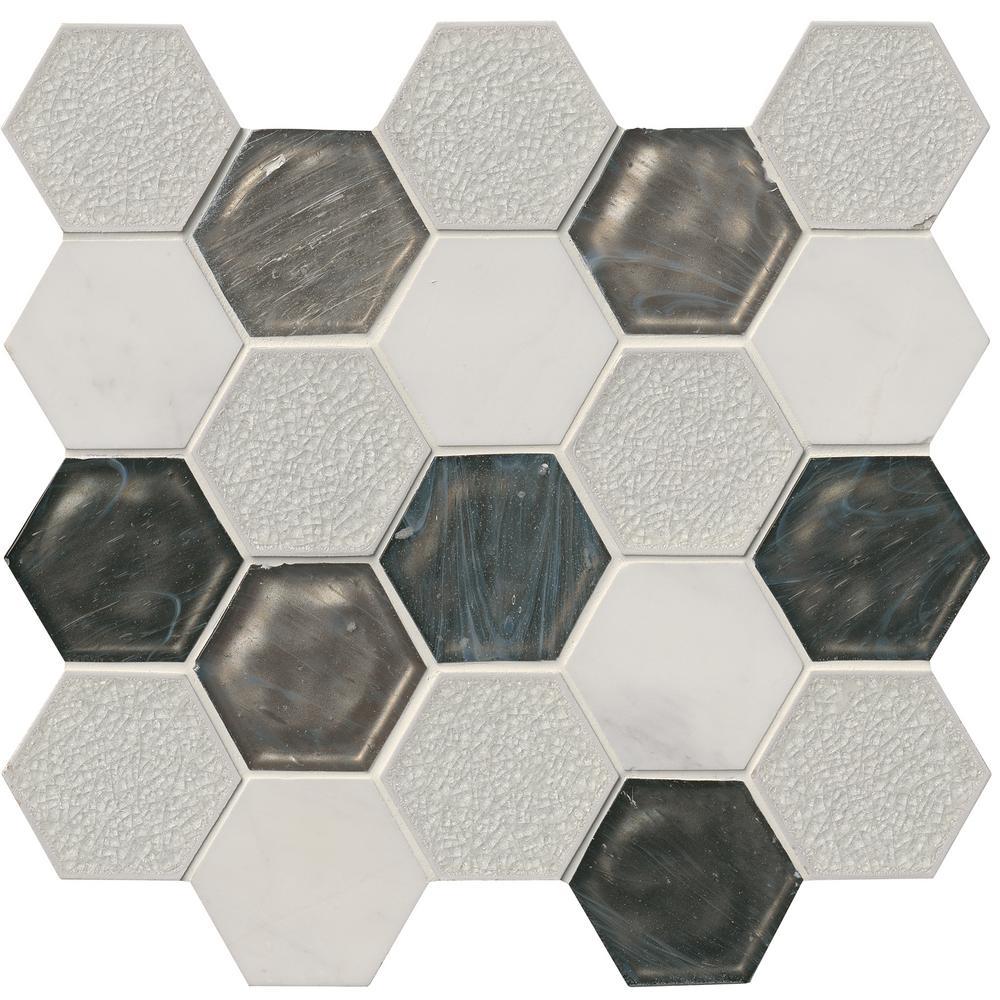 Circa Zirconia Hexagon 12 in. x 13 in. x 8 mm Glass/Stone Mesh-Mounted Mosaic Tile (10.6 sq. ft. / case)