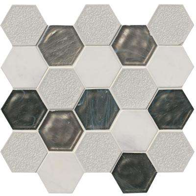Circa Zirconia Hexagon 12 in. x 13 in. x 8mm Glass Stone Mesh-Mounted Mosaic Tile (10.6 sq. ft. / case)