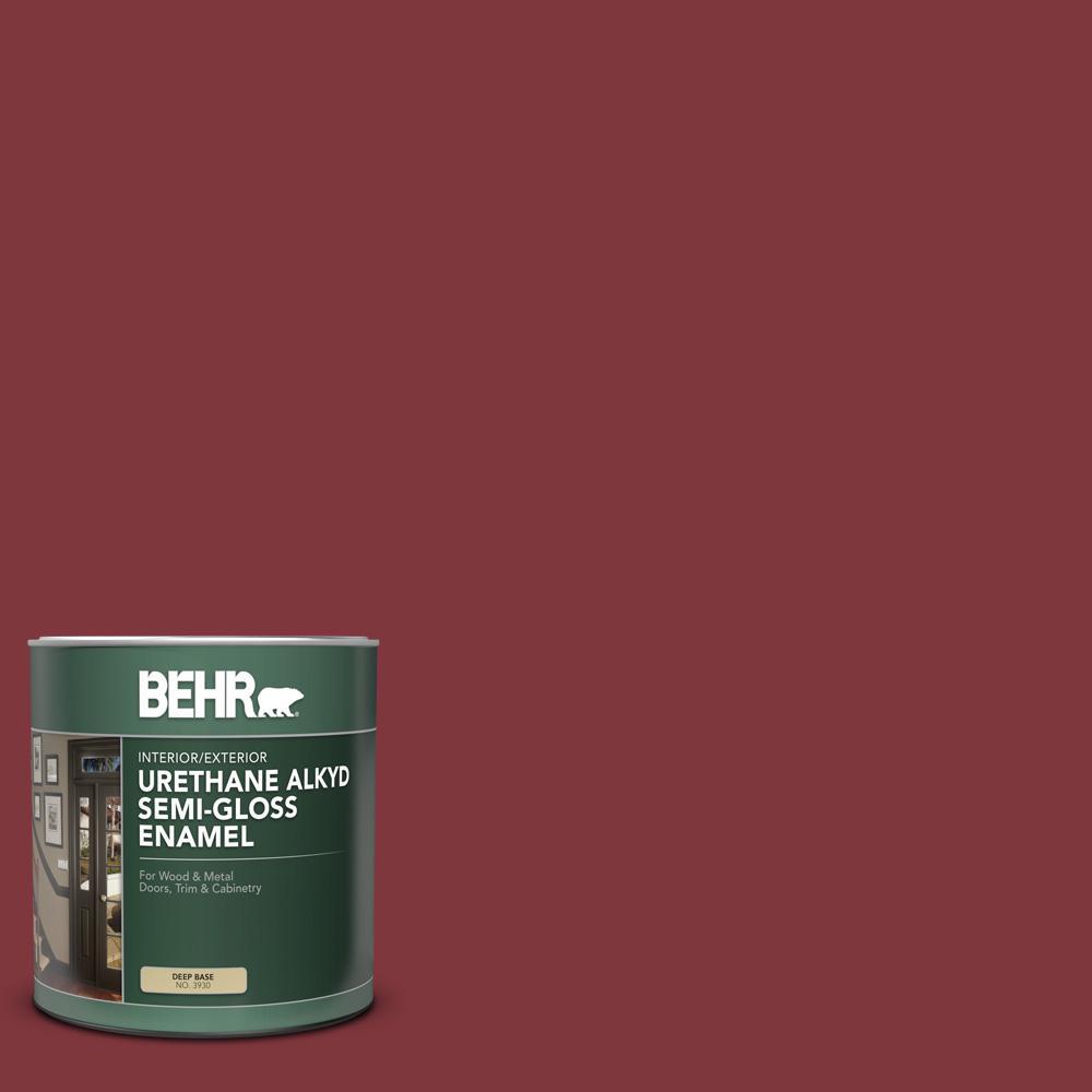 1 qt. #SC-112 Barn Red Semi-Gloss Enamel Urethane Alkyd Interior/Exterior Paint