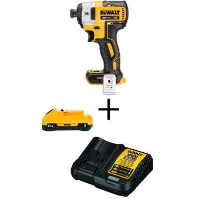 20-Volt MAX Li-Ion Cordless Brushless 1/4 in. Impact Driver (Tool-Only) with Free 20-Volt MAX Battery 3.0Ah & Charger