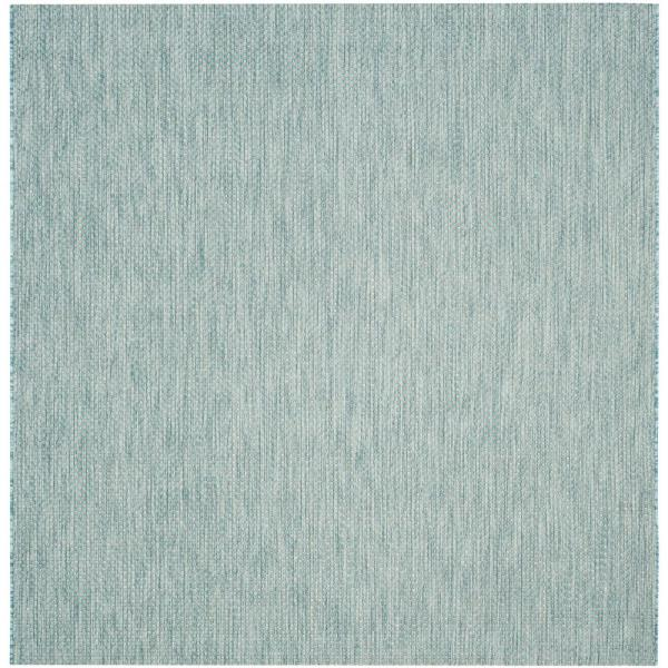 Reviews For Safavieh Courtyard Aqua Gray 5 Ft X 5 Ft Indoor Outdoor Square Area Rug Cy8521 37121 5sq The Home Depot