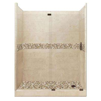 Roma Grand Slider 30 in. x 60 in. x 80 in. Right Drain Alcove Shower Kit in Brown Sugar and Old Bronze Hardware