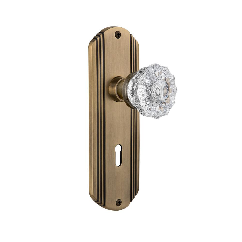 aedca21c2d655 Nostalgic Warehouse Deco Plate Interior Mortise Crystal Glass Door Knob in  Antique Brass