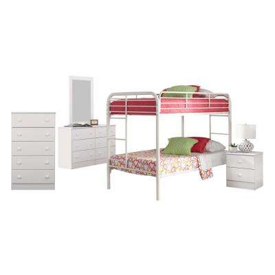 Classic White Collection 193K5TT 5-Piece White Twin Bedroom Set