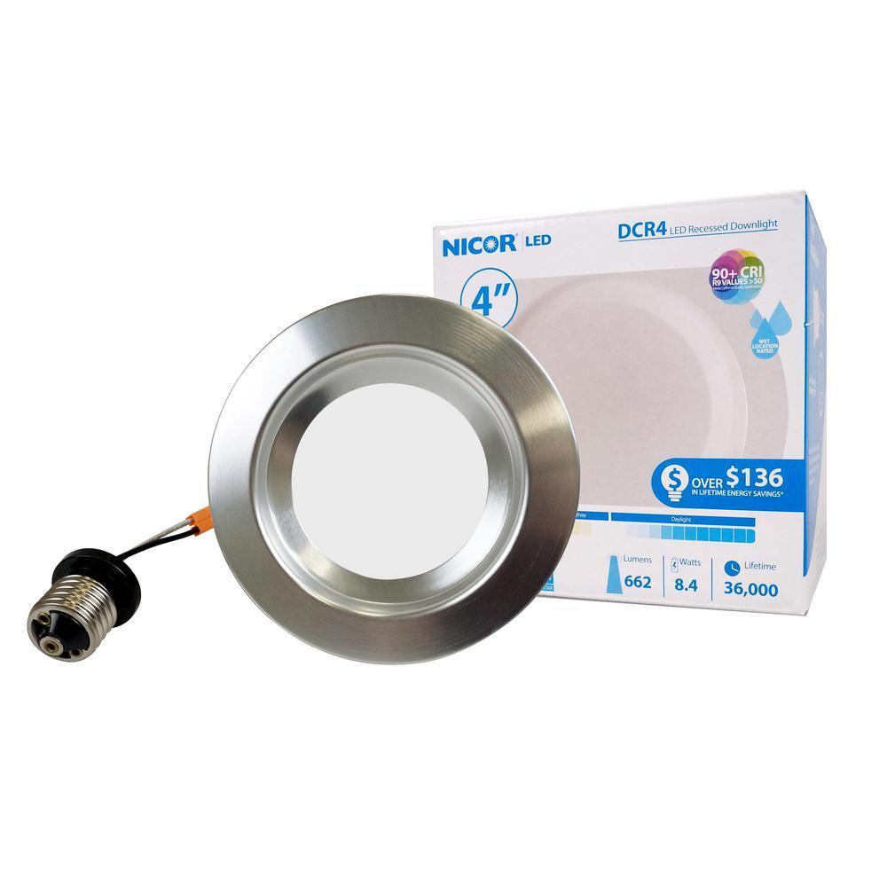 4 in. Downlight Nickel Integrated LED Recessed Trim Retrofit Light