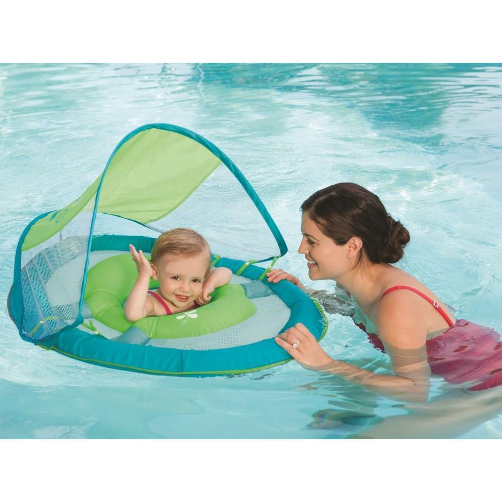 SwimWays Baby Spring Float Sun Canopy Green Fish