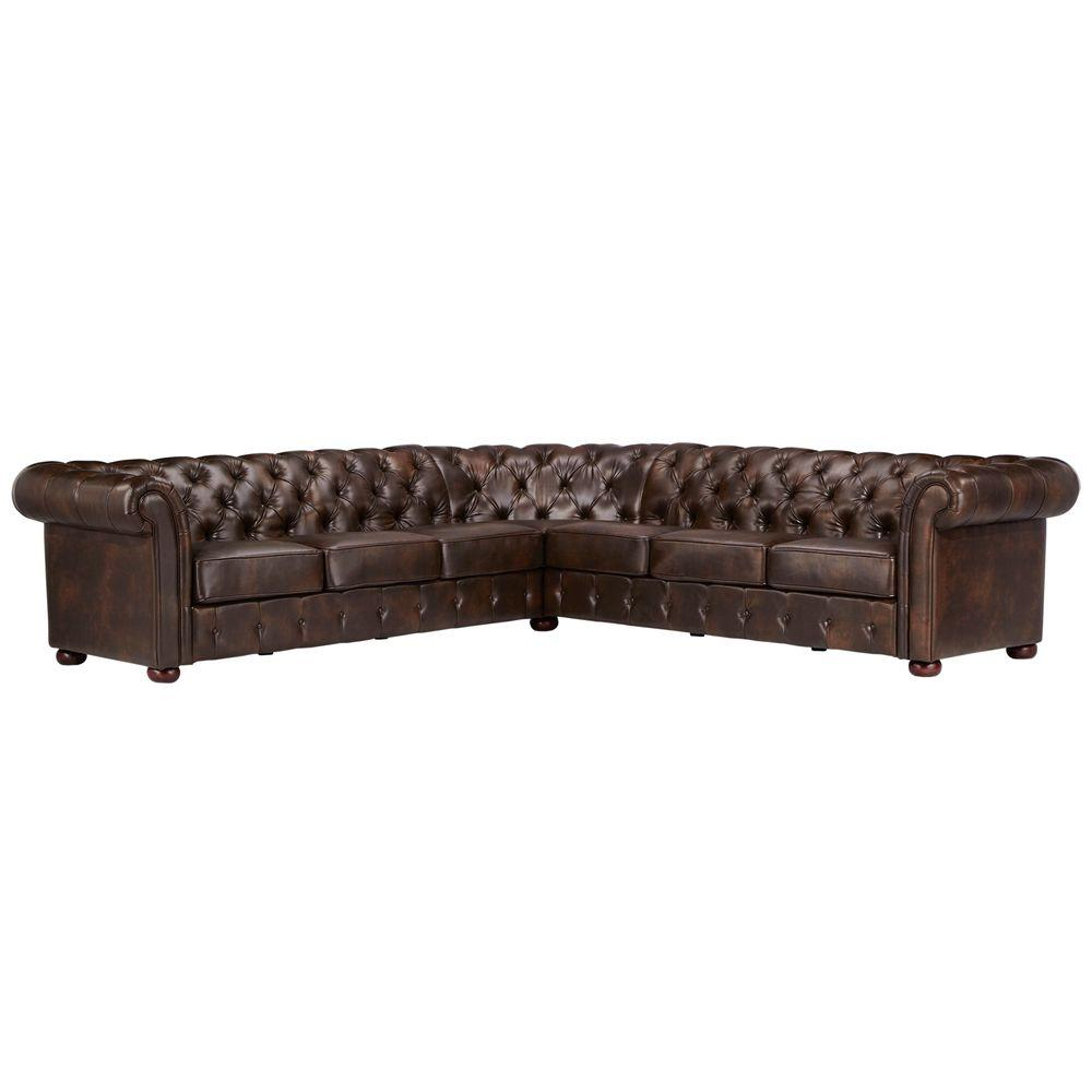 HomeSullivan Radcliffe 3-Piece Chocolate Bonded Leather Sectional