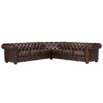 Radcliffe 3-Piece Chocolate Bonded Leather Sectional