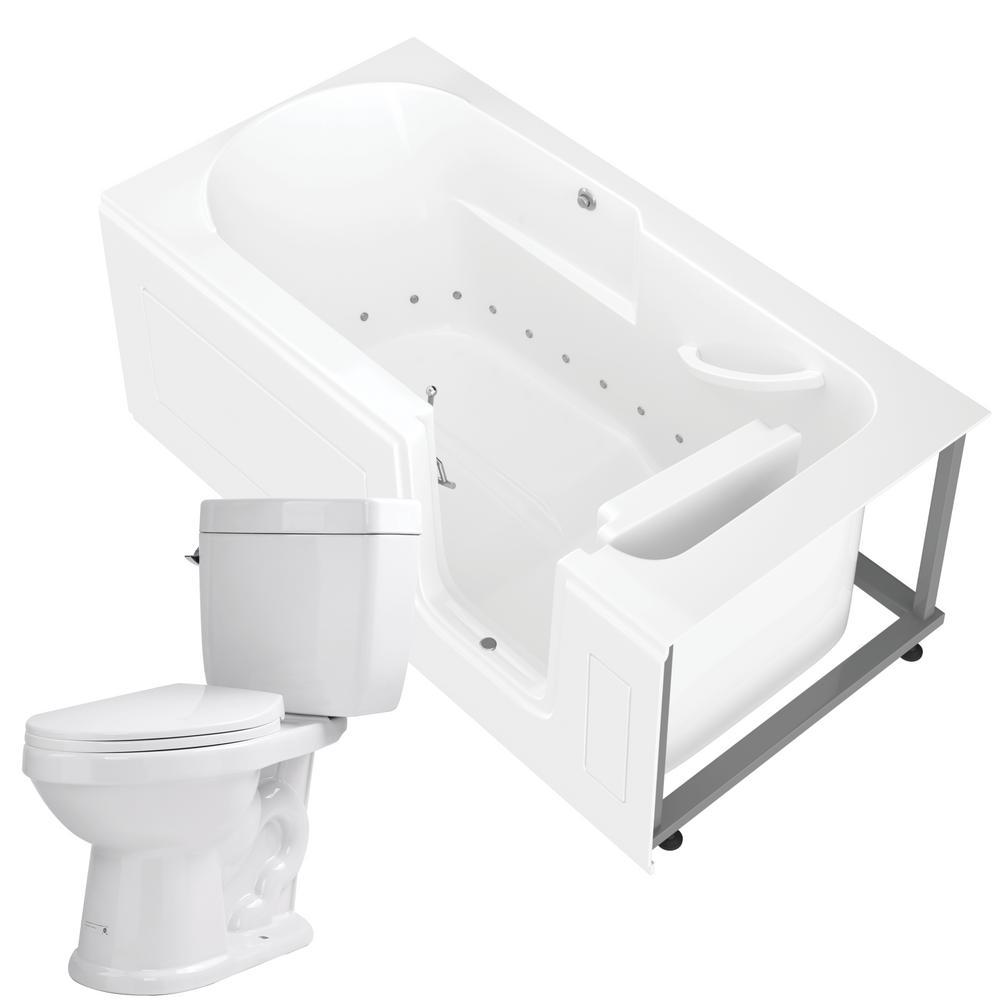 Nova Heated 60 in. Walk-In Air Bath Tub in White with 1.6 GPF Single Flush Toilet