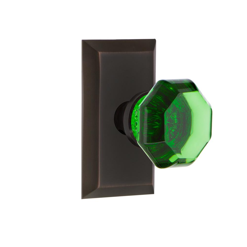 Studio Plate 2-3/4 in. Backset Timeless Bronze Passage Waldorf Emerald Door Knob