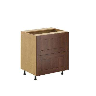 Ready to Assemble 30x34.5x24.5 in. Lyon 2-Deep Drawer Base Cabinet in Maple Melamine and Door in Medium Brown