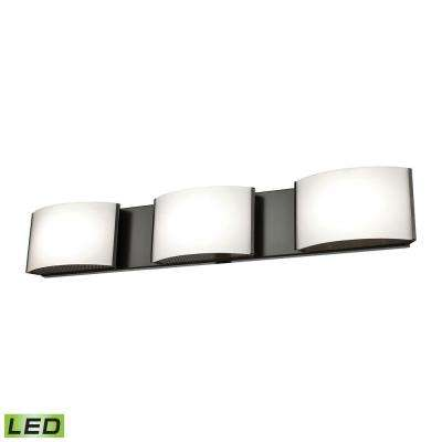 Pandora 3-Light Oiled Bronze and Opal Glass LED Vanity Light