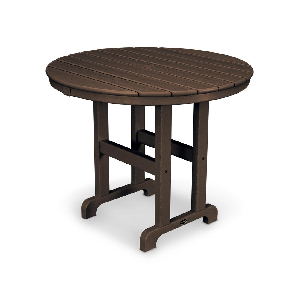 La Casa Cafe 36 in. Mahogany Round Plastic Outdoor Patio Dining