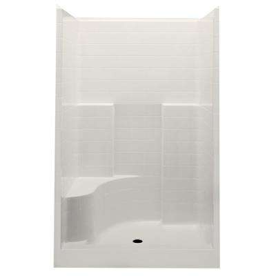 Everyday Smooth Tile 48 in. x 34.9 in. x 76 in. 1-Piece Shower Stall with Left Seat and Center Drain in Bone
