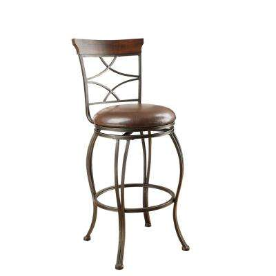 Tavio 29 in. Antique Bronze Swivel Cushioned Bar Stool (Set of 2)