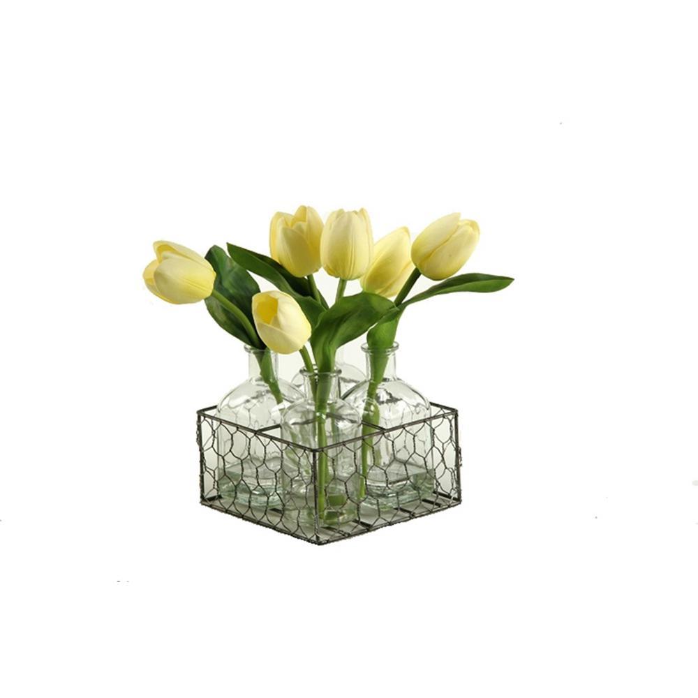 Indoor Yellow Tulips in Glass Jugs in Metal Holder