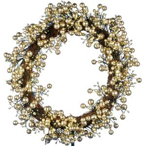 48-Light LED Gold 24 in. Battery Operated Berry Wreath with Timer