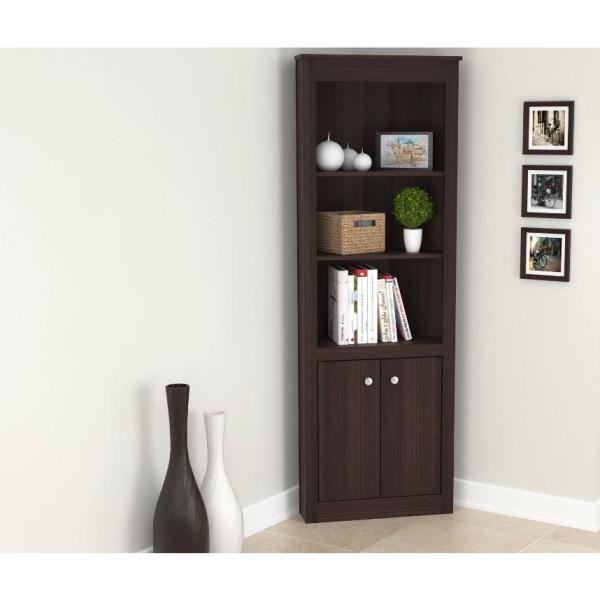 Inval 70 02 In Brown Wood 5 Shelf Standard Corner Unit Bookcase Be 9304 The Home Depot