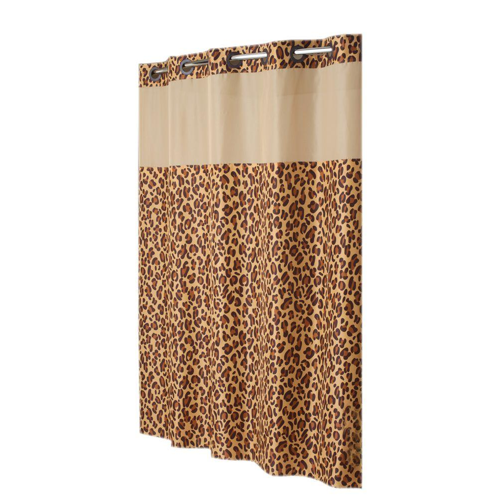 Hookless Shower Curtain Mystery with Peva Liner in Leapard Print