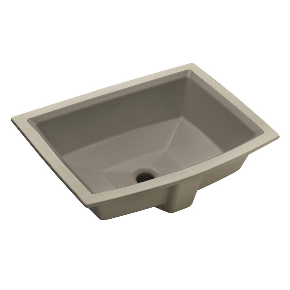 KOHLER Archer Vitreous China Undermount Bathroom Sink with Overflow Drain in Cashmere with Overflow Drain