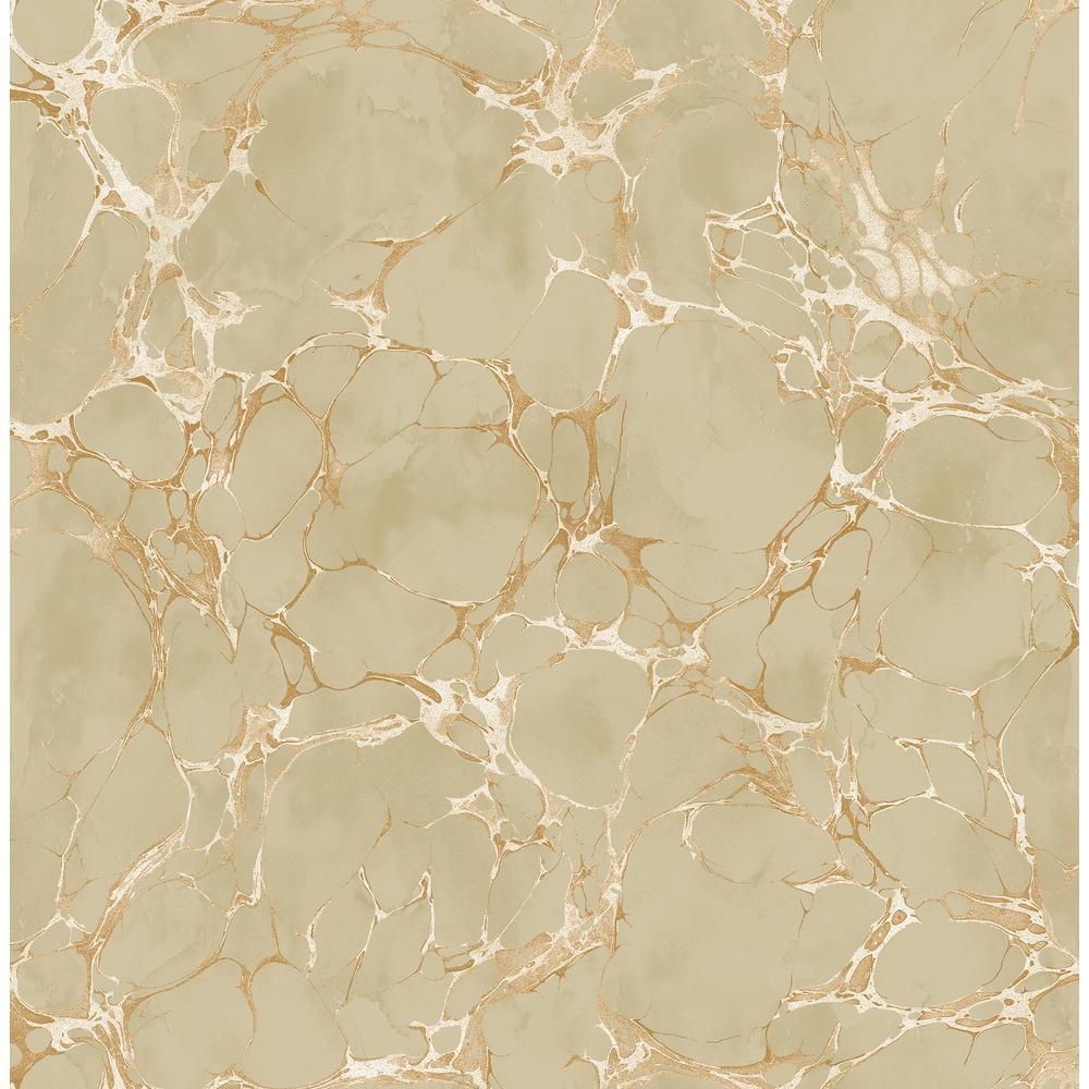Patina Crackle Metallic Bronze and Tan Marble Wallpaper
