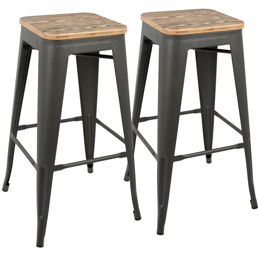 Lumisource Oregon 30 in. Grey and Brown Barstool (Set of ...