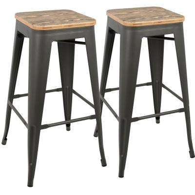Oregon 30 in. Grey and Brown Barstool (Set of 2)