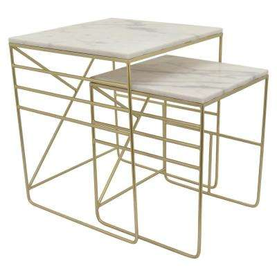 23.75 in. Gold Metal Marble Top Table (Set of 2)