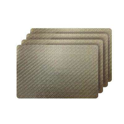Cambria Gold Metallic Faux Leather Rectangular Placemats (set of 4)