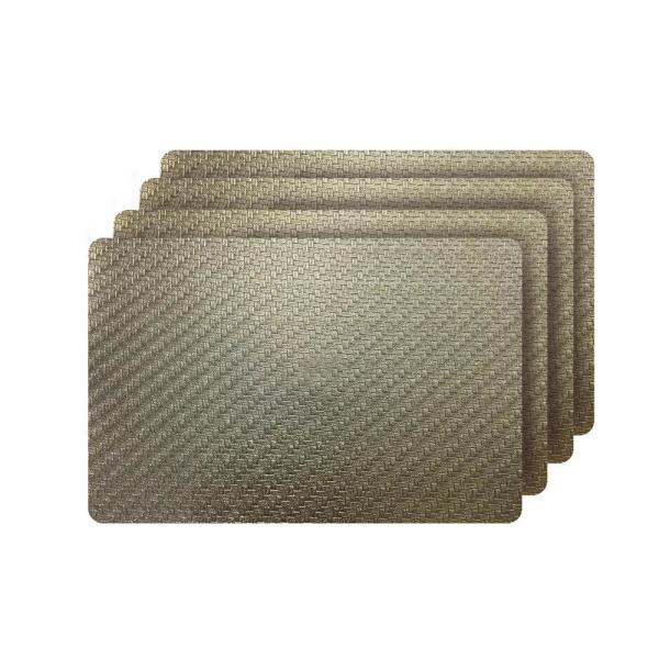 Dainty Home Cambria Gold Metallic Faux Leather Rectangular Placemats (set of
