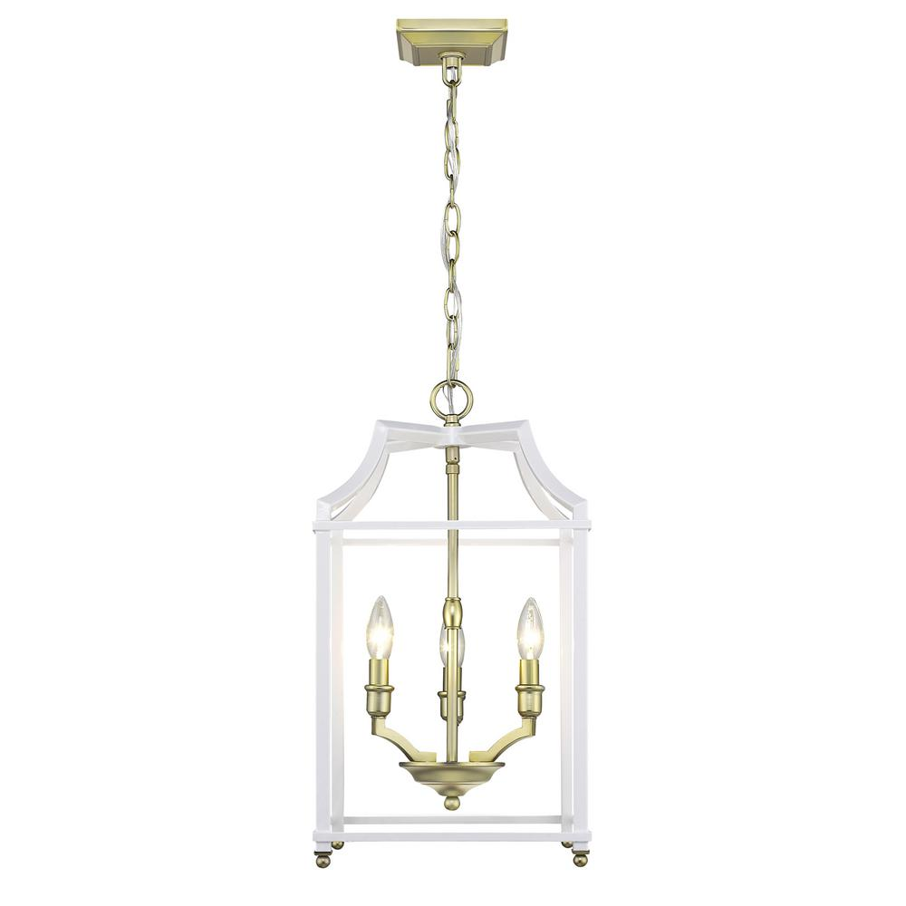 Leighton 3-Light Satin Brass and White Pendant Light
