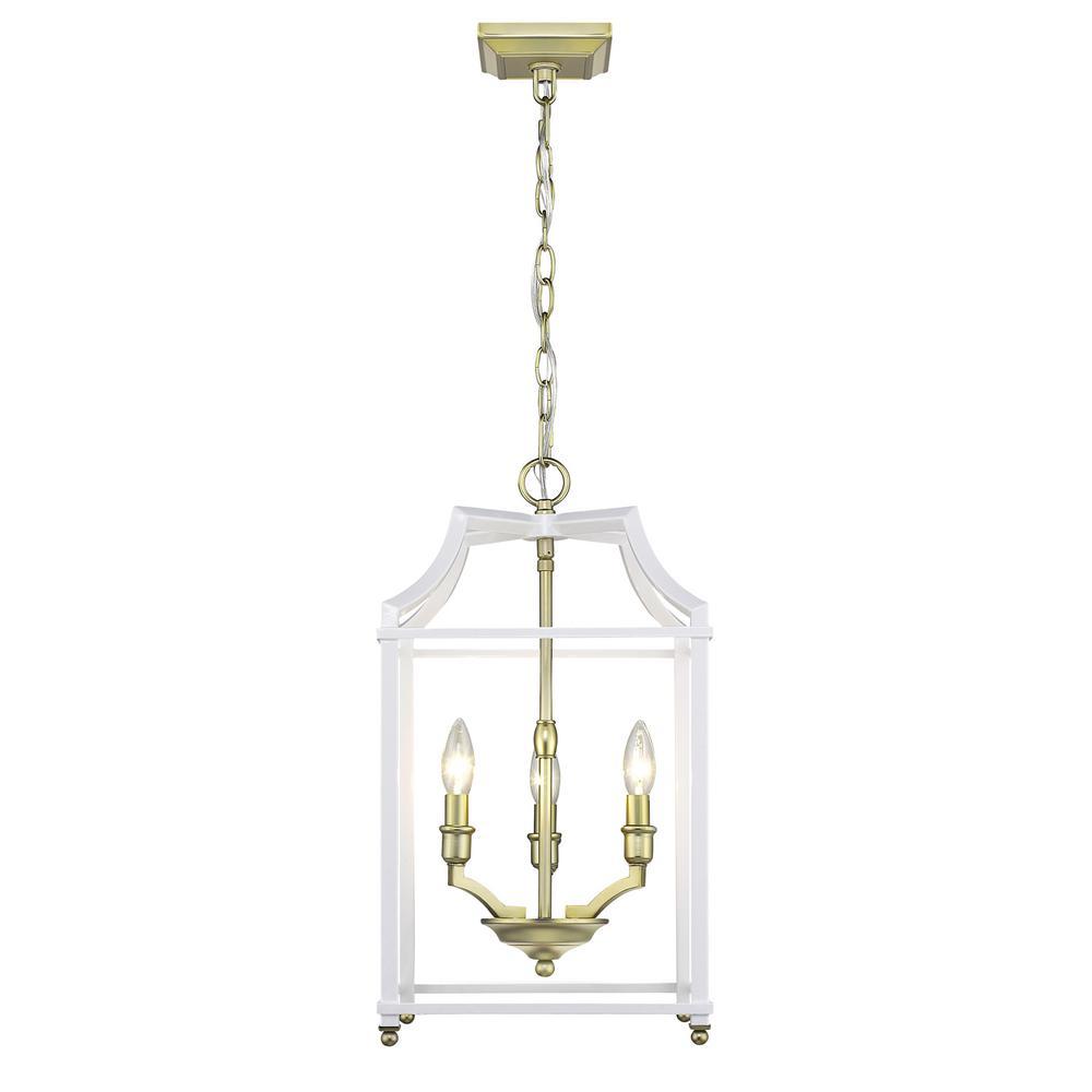 Golden Lighting Leighton 3 Light Satin Br And White Pendant