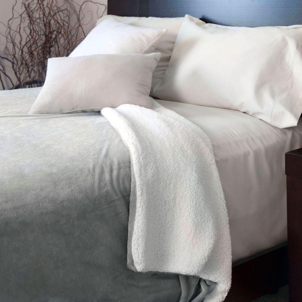 Grey Fleece/Sherpa Polyester Twin Blanket