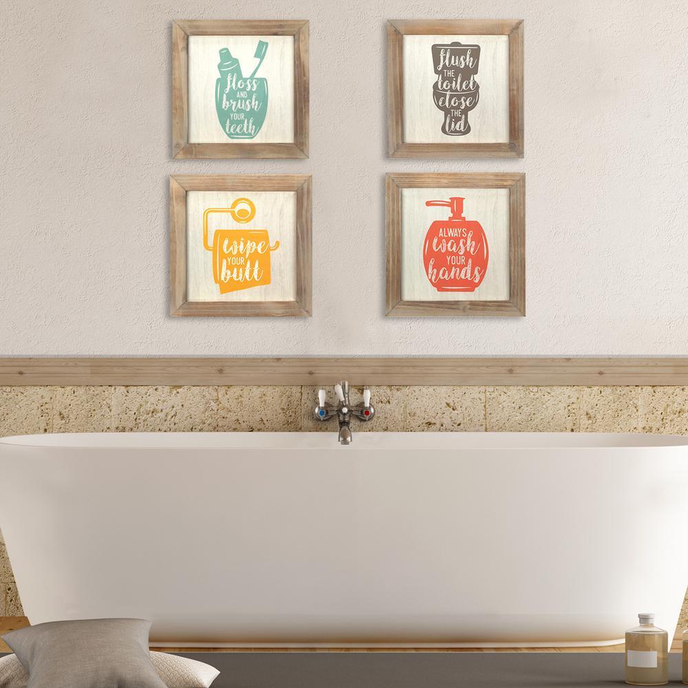Floss Flush Wipe Wash Decorative Sign (Set of 4 )