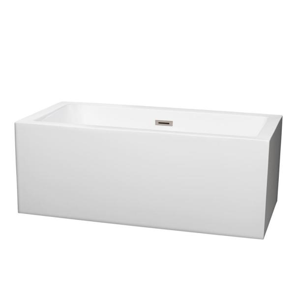 Wyndham Collection Melody 5 ft. Center Drain Soaking Tub in White