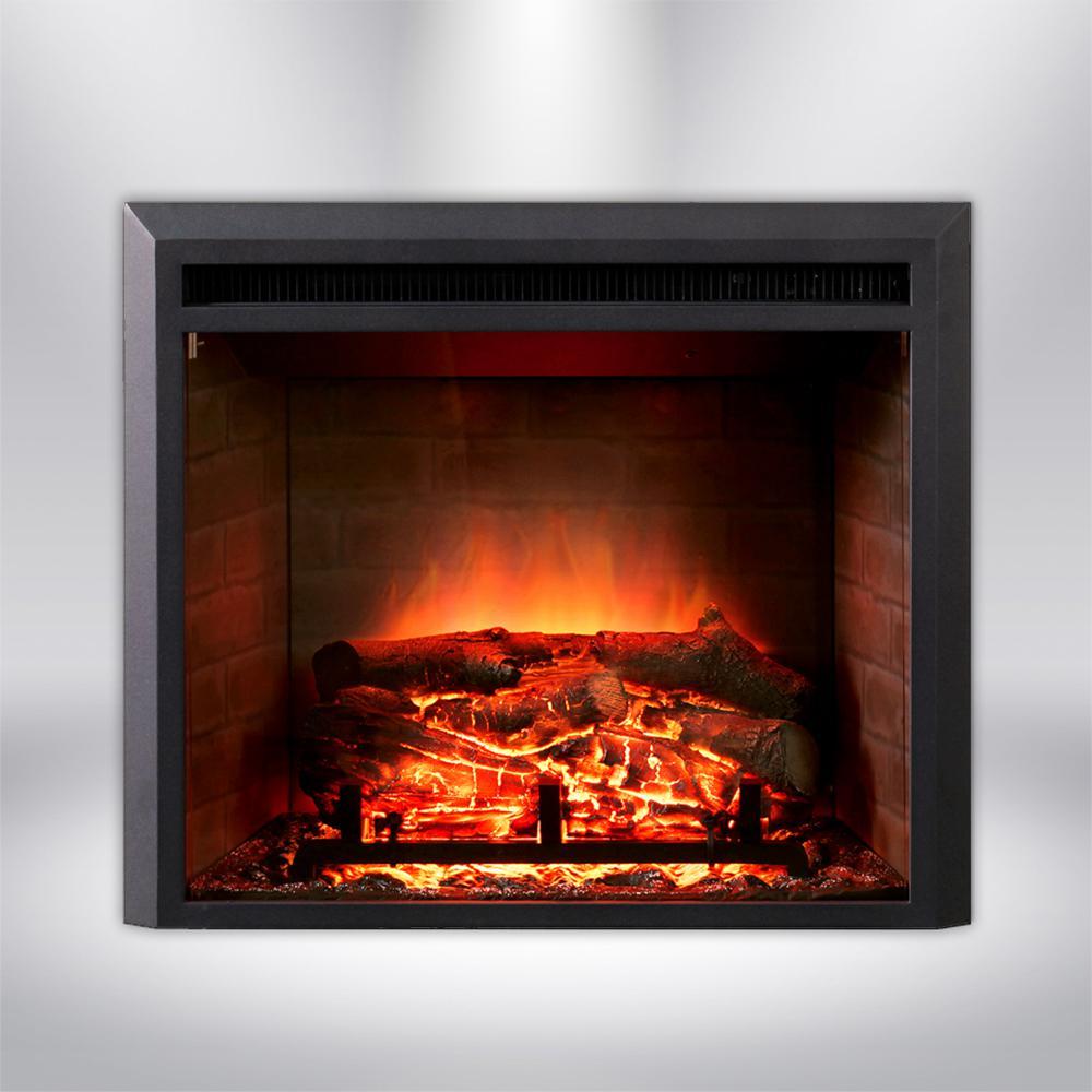 28 in. LED Electric Fireplace Insert in Black Matt