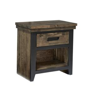 Renegade 1-Drawer Black and Honey Nightstand 25 in. x  25 in. x  15 in.