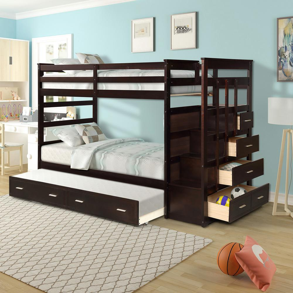 Harper & Bright Designs Espresso Twin Over Twin Bunk Bed with Trundle and Drawers