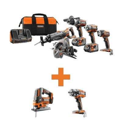 18-Volt Lithium-Ion Cordless 5-Tool Combo w/Bonus OCTANE Brushless Jig Saw & OCTANE Brushless Impact Wrench