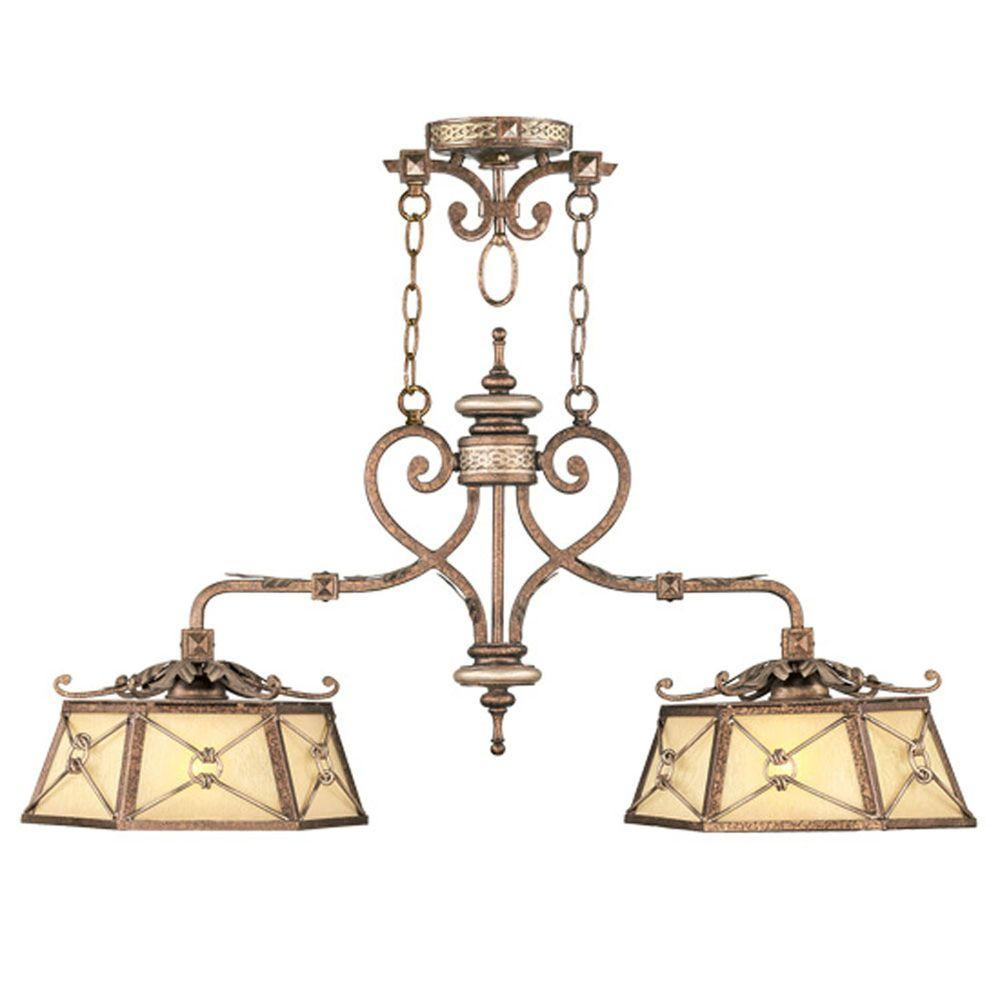 Livex Lighting Providence 2-Light Palatial Bronze with Gilded Accents Incandescent Ceiling Island Pendant