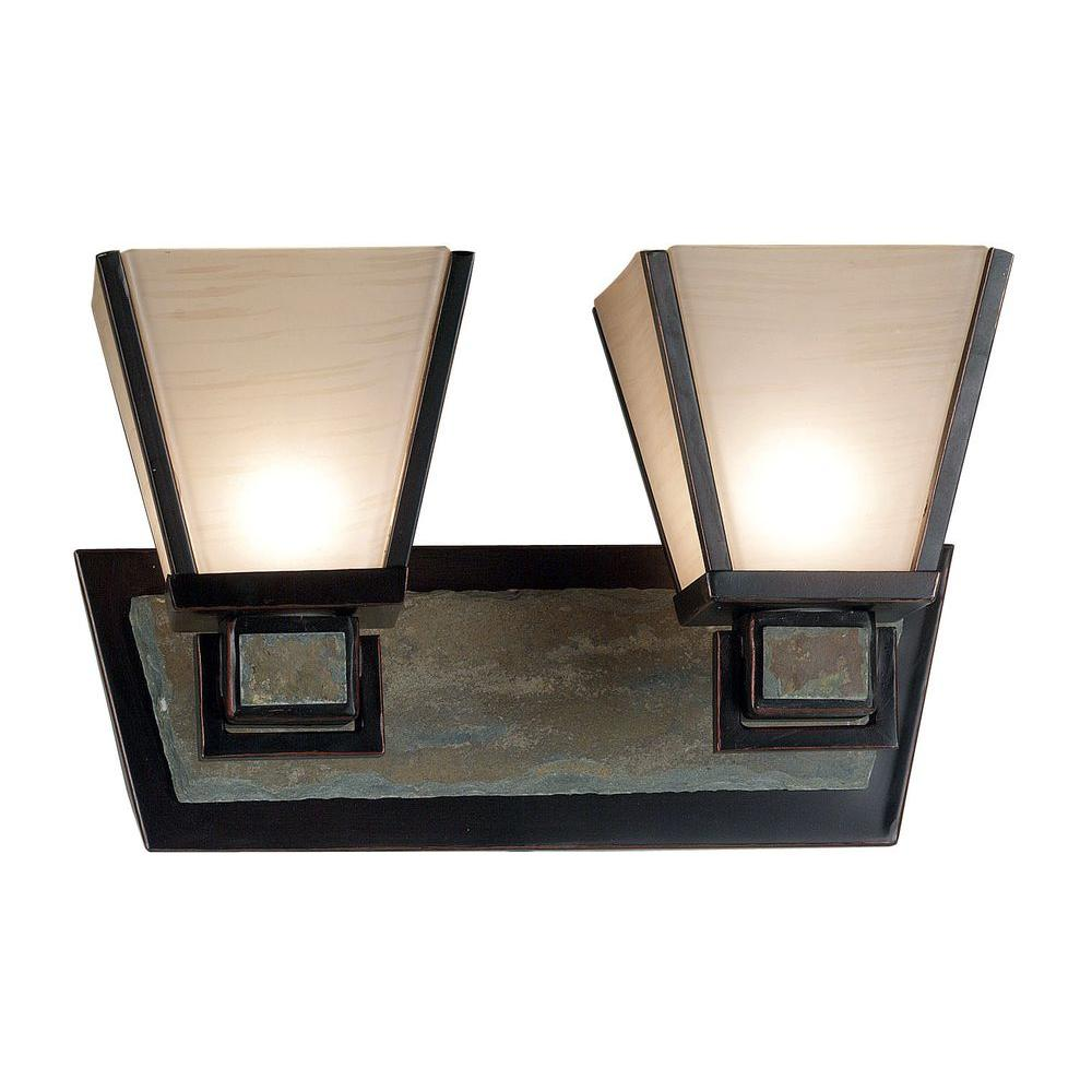 Kenroy Home Clean Slate 2-Light Oil Rubbed Bronze Finish with Natural Slate Vanity-DISCONTINUED