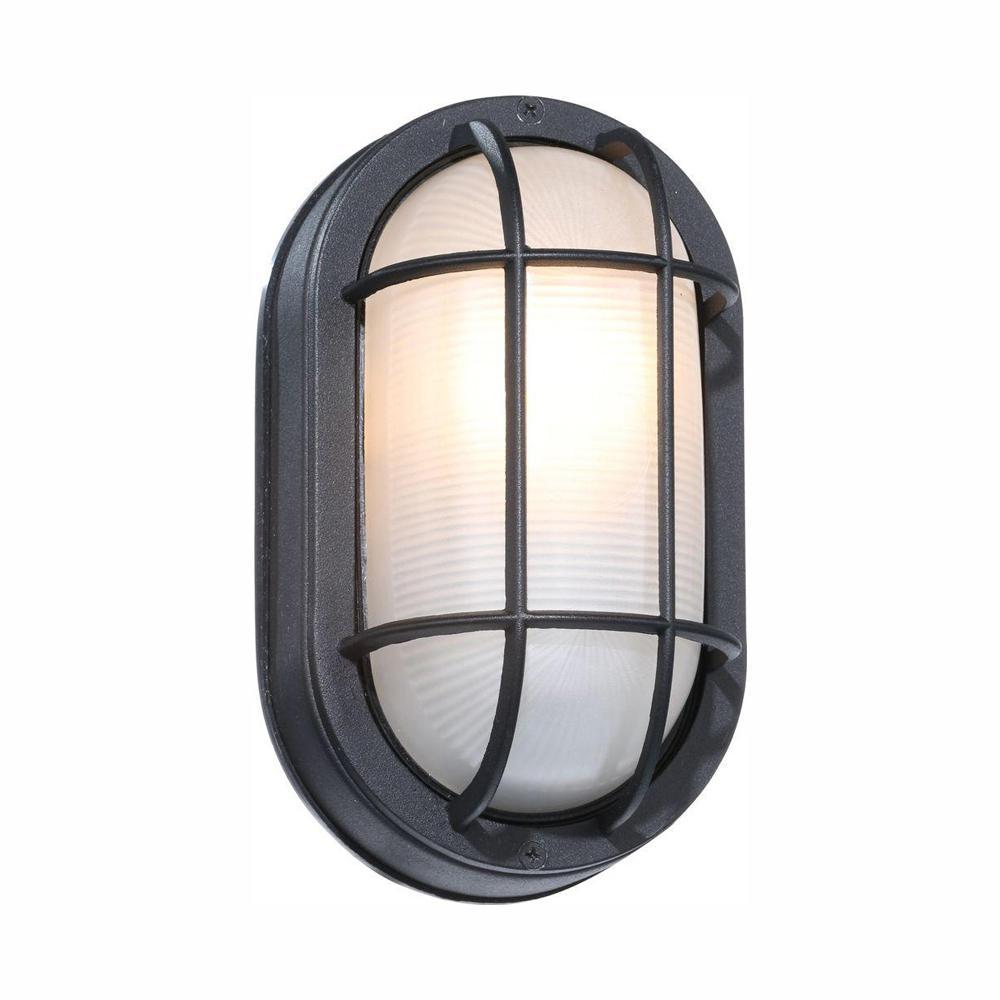 Black Outdoor Oval Bulkhead Wall Light