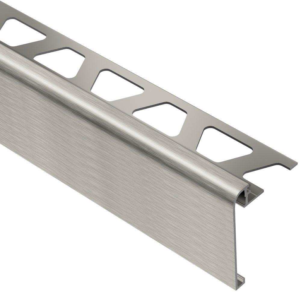 Schluter Rondec-Step Brushed Nickel Anodized Aluminum 1/2 in. x 8 ft. 2-1/2 in. Metal Tile Edging Trim
