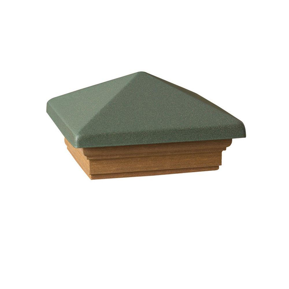DeckoRail Verona 4 in. x 4 in. Green Metal High Point Pyramid Post Cap