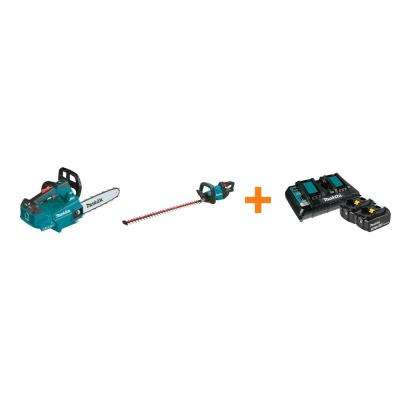 18V X2 LXT Electric 14 in. Top Handle Chain Saw and 18V LXT 30 in. Hedge Trimmer with bonus 18V LXT Starter Pack