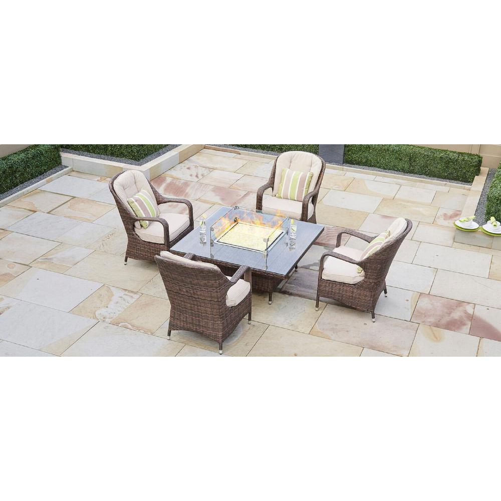 Eton 4 Seat Brown Square Wicker Outdoor Fire Pit Dining Table
