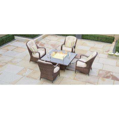 Eton 4-Seat Brown Square Wicker Outdoor Fire Pit Dining Table