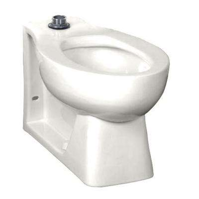 Huron Tall Height 1.28 to 1.6 GPF Elongated Toilet Bowl Only in White with EverClean Top Spud Flushometer